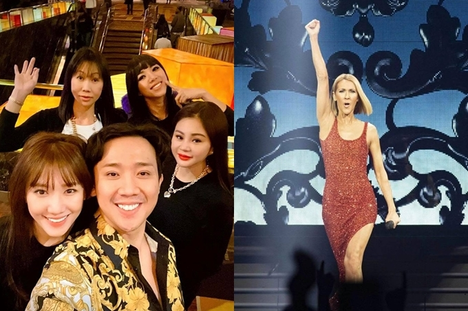 Trấn Thành - Hari Won cùng các thành viên khác đi xem show diễn của danh ca Celine Dion.