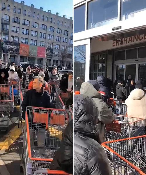 Hàng chục người dân xếp thành hàng dài trước khi siêu thị mở cửa để trở thành những người đầu tiên vào trong mua đồ.