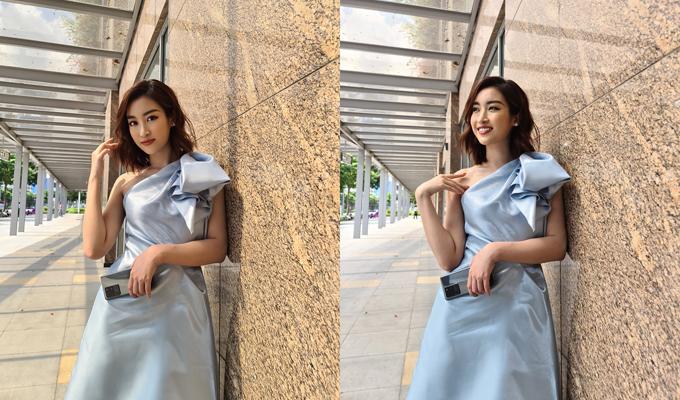 Ảnh Hoa hậu Đỗ Mỹ Linh chụp bằng camera thường (trái) và camera phân giải 108MP (phải) trên Galaxy S20 Ultra.