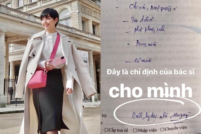 Fashionista Khánh Linh không phải cách ly theo lệnh tập trung sau khi trở về từ Pháp hôm 6/3. Song cô nhanh chóng đến Bệnh viện Nhiệt đới (TP HCM) kiểm tra và được bác sĩ yêu cầu cách ly tại nhà.