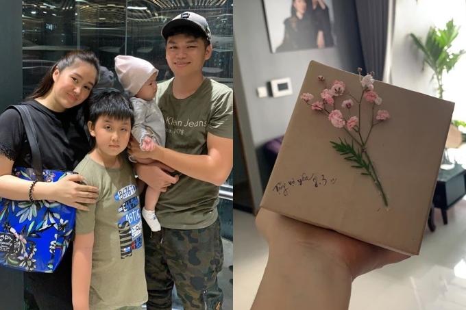 Ngoài chuẩn bị quà, Trung Kiên còn dẫn bà xã Lê Phương và hai con ra ngoài ăn tối nhân ngày Quốc tế Phụ nữ.