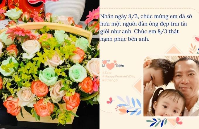 Ông xã Vy Oanh dành lời chúc dí dỏm kèm hoa đến vợ.