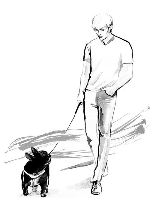 Bức ảnh Nathan Lee dắt cún cưng đi dạo cũng được em gái anh vẽ lại.