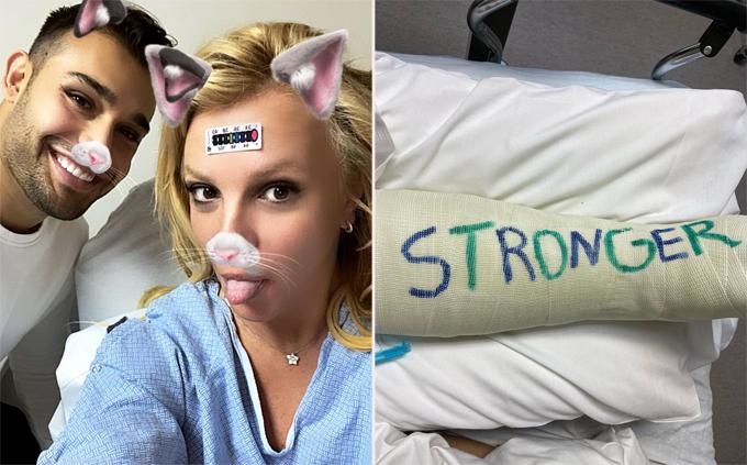 Bạn trai đăng ảnh Britney nằm viện hôm 17/2 với chân bó bột đến đầu gối. Sam đã luôn ở bên động viên tinh thần bạn gái và cổ vũ cô trên Instagram.