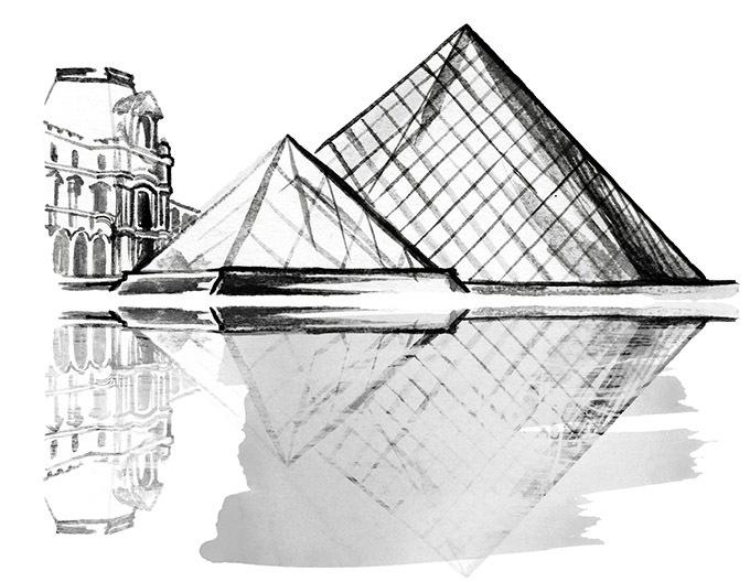Bảo tàng Louvre nổi tiếng ở Paris qua nét vẽ của nhà thiết kế Foxtly.