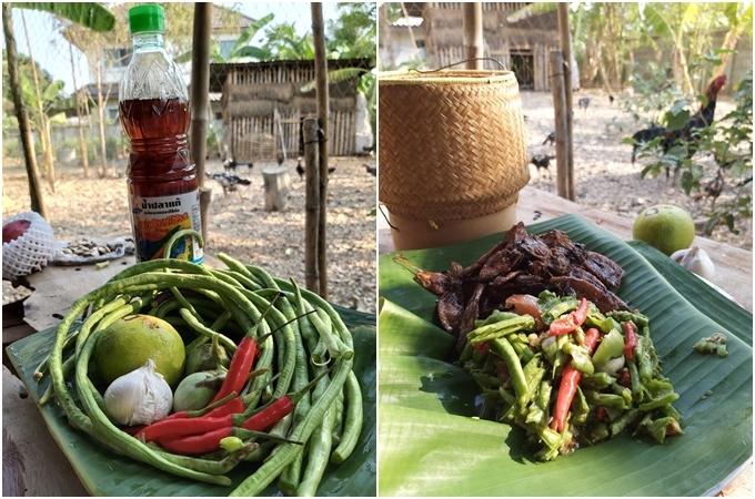 Hôm nay, Missy làm món somtam - món gỏi đặc trưng của Thái Lan. Nguyên liệu gồm có đậu que (đậu đũa), tỏi, chanh, cà pháo Thái, ớt và nước mắm. Chày và cối là hai vật dụng không thể thiếu đối với Nok. Cách làm món này khá đơn giản, bạn có thể thấy ở nhiều chợ đêm tại Thái Lan. Đậu que cho vào cối, giã nát, sau đó thêm tỏi, cà pháo, ớt và vắt chanh vào, nêm nếm thêm gia vị. Lưu ý, nên giã luôn tay để gia vị thấm đều vào thức ăn. MissyNok đổ somtam vào một chiếc lá chuối, thay vì sử dụng chén bát. Món này khá thích hợp khi dùng chung với cơm dẻo, hoặc thịt chim.