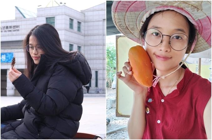 MissyNok Chamaiporn ở Hàn (ảnh trái) và trong vườn nhà ở Thái Lan (ngày 11/3).