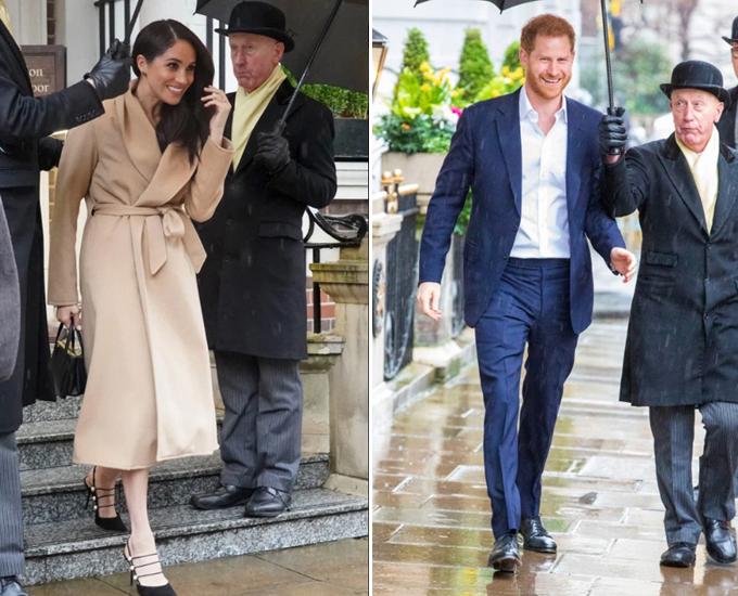 Harry - Meghan rời The Gloring Hotel vào ngày 5/3. Ảnh: The Sun.
