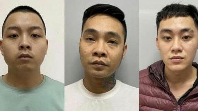 Nhóm nghi phạm tại cơ quan điều tra.