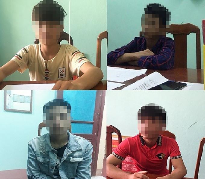 Bốn thanh niên tại cơ quan điều tra. Ảnh: Trần Tuấn