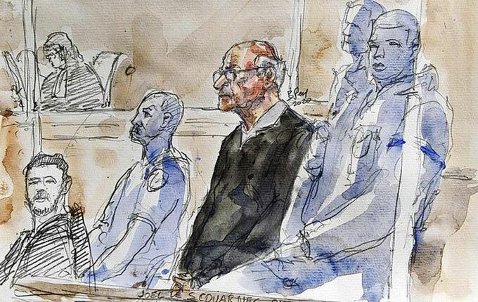 Le Scouarnec (áo đen) trong phiên toà xét xử hôm 13/3. Tranh minh hoạ: AFP.