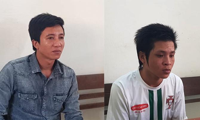 Nguyễn Văn Anh vàNguyễn Xuân Lạc tại cơ quan điều tra. Ảnh:Đại Hiệp.