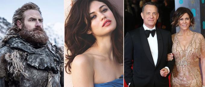 Kristofer Hivju (trái), Olga Kurylenko (giữa) và vợ chồng tài tử Tom Hanks đã nhiễm nCoV.