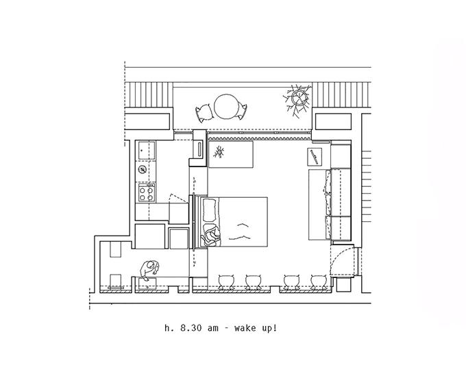 Sơ đồ 2D về diện mạo căn hộ buổi sáng.