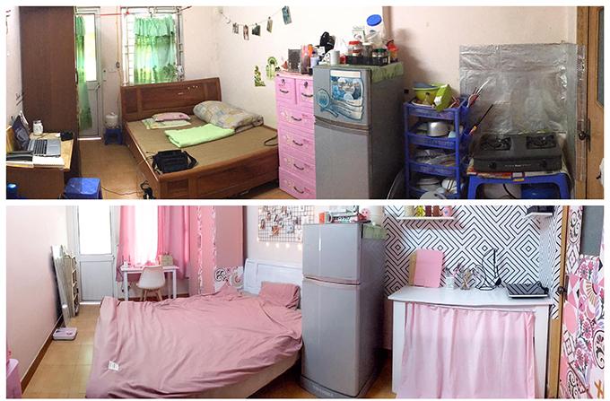 Căn phòng trọ trước và sau khi cải tạo. Diện tích của căn phòng là 20 m2, gồm ban công, nhà vệ sinh, không có khu nấu nướng riêng. Tường nhà có nhiều hình dán từ các người thuê trước.