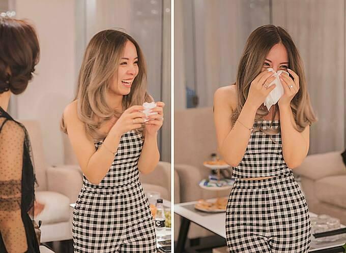 Vũ Tường Vi sinh sống tại Anh nhưng lại phải lòng các mẫu váy của NTK Phương Linh. Ngay từ nửa năm trước ngày cưới, Tường Vi đã bắt đầu liên lạc với nhà thiết kế để lên ý tưởng cho bộ lễ phục của mình. Giây phút đầu tiên nhìn thấy chiếc váy cưới trong mơ, cô dâu không kìm được nhữnggiọt nước mắt xúc động.