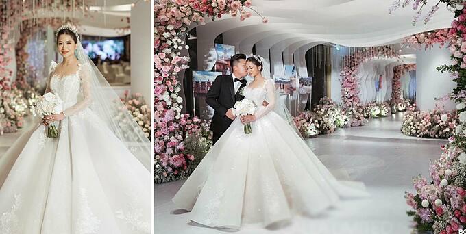 Váy cưới của cô dâu Dương Hoàng Lan Nhi (Mỹ) được lấy cảm hứng từ công chúa Cinderella. Đặt váy cưới từ xa, Lan Nhi lựa chọn một nhà thiết kế uy tín, có nhiều phản hồi tốt (điều này có thể tham khảo bằng công cụ tìm kiếm google) để đặt niềm tin và không mất nhiều thời gian đi lại. Lan Nhi mất 8 tháng để hiện thực hóa chiếc váy trong mơ của mình.