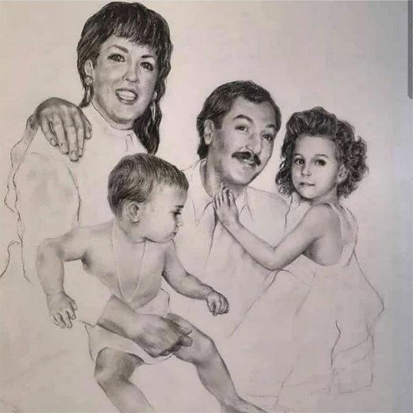 Bạn gái C. Ronaldo cũng đăng bức vẽ gia đình cô ngày nhỏ để tri ân người bố quá cố. Ảnh: Instagram.