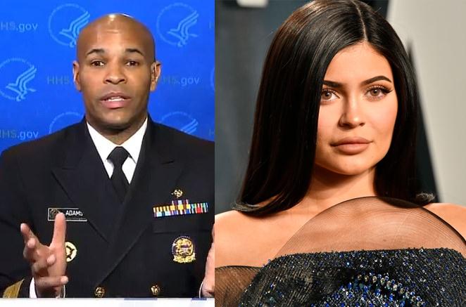 Tổng ysĩ Jerome Adams (trái) nhờ Kylie Jenner lên tiếng kêu gọi người dân ở nhà.