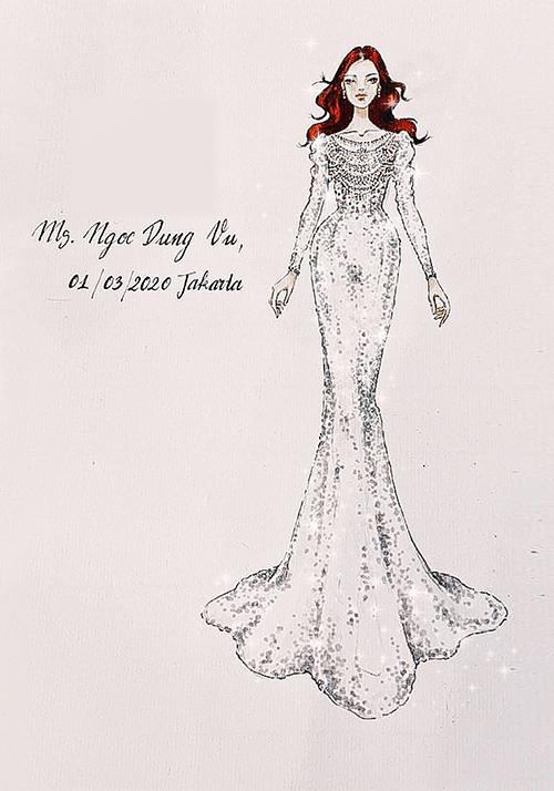 Từ mong đợi của nàng dâu, Linh Nga phác thảo một mẫu đầm cưới đuôi cá ôm sát cơ thể, tôn dáng ngọc của người đẹp.
