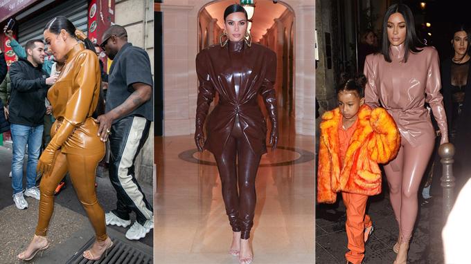 Kim mặc ba bộ đồ latex ở Paris ngày 1/3.