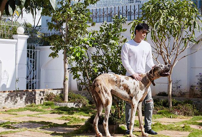 Nam ca sĩ chơi đùa cùng chú chó cưng trong khuôn viên căn biệt thự rộng 6.000 m2.