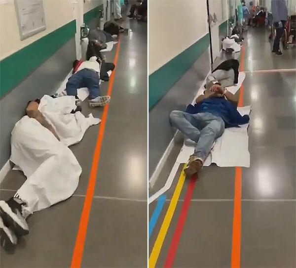 Hành lang bệnh viện Severo Ochoa de Leganes chật cứng bệnh nhân nằm ho rũ rượi. Ảnh: Aida Marci.