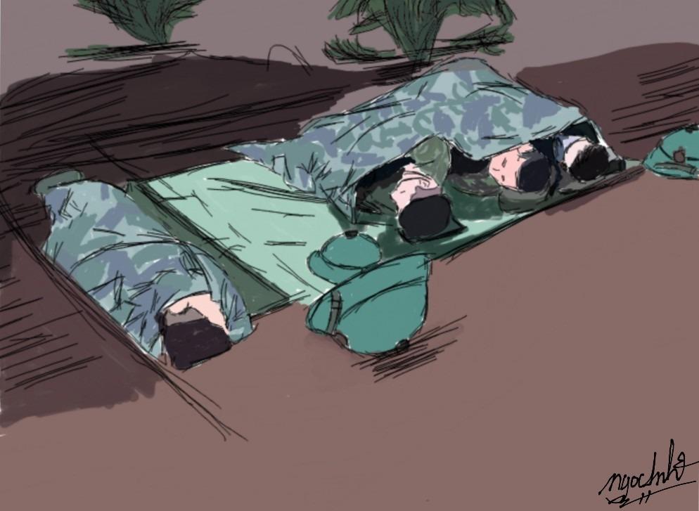 Giấc ngủ tạm của của các chiến sĩ bộ đội.
