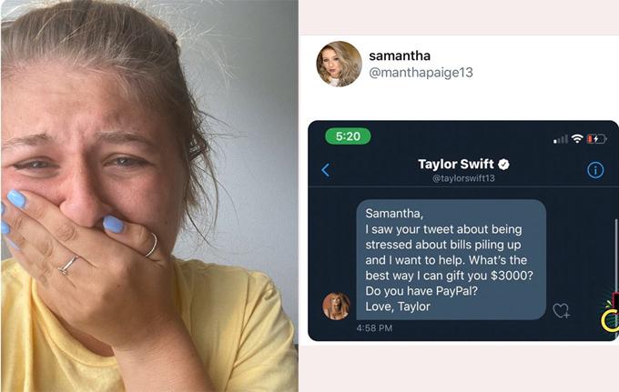Phản ứng của fan khi nhận được tin nhắn hỗ trợ tiền của Taylor Swift.