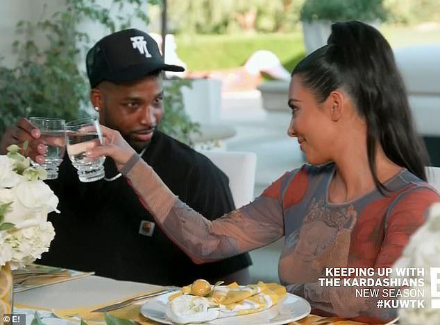 Kim Kardashian và em rể hụt  Tristan Thompson thân thiết trong tập phim mới của Keeping Up With The Kardashian.