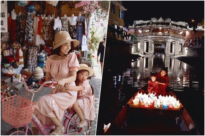 Hai mẹ con diện đồ ton-sur-ton, chụp bộ ảnh kỷ niệm trên phố, cùng thả hoa đăng trên sông Hoài. Đây cũng là chuyến du lịch nhân sinh nhật 6 tuổi của bé Lavie.