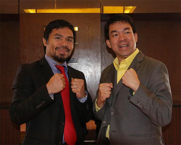 Manny Pacquiao và thượng nghị sĩ vừa nhiễm Covid-19 Koko Pimentel. Ảnh: FB.