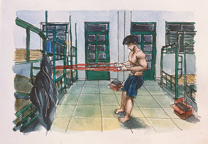 Nam thanh niên Việt kiều Đức hùng hục tập luyện cơ bắp hằng ngày.
