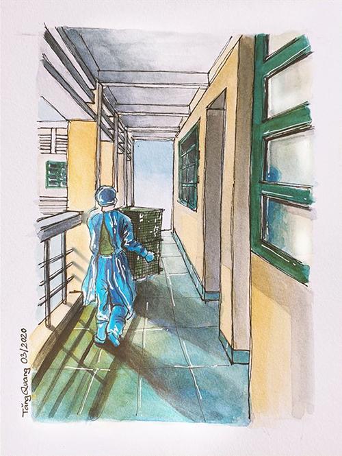 Sau khi phát đồ ăn cho từng phòng, các chiến sĩ cặm cụi thu dọn. Công việc vất vả, trời Sài Gòn oi nóng, nhưng họ chưa bao giờ than phiền. Có người nhiệt tình còn cho cả từng phòng số điện thoại cá nhân để gọi khi cần trợ giúp. Vì vậy ai trong khu cách ly cũng yêu quý họ.