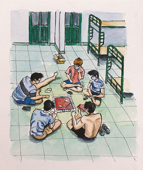 Bảy thanh niên trong phòng cùng chơi cờ tỷ phú.