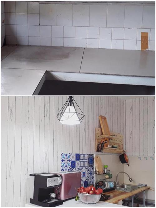 Ảnh bếp trước và sau cải tạo.Màu sắc của căn hộ được mẹ hai con lựa chọn một cách ngẫu nhiên, hướng đến phong cách nhẹ nhàng.
