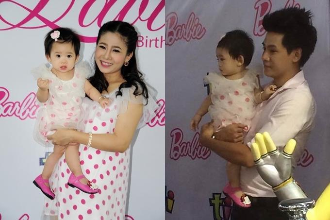 Mai Phương và Phùng Ngọc Huy tại tiệc thôi nôi con gái Lavie năm 2014.