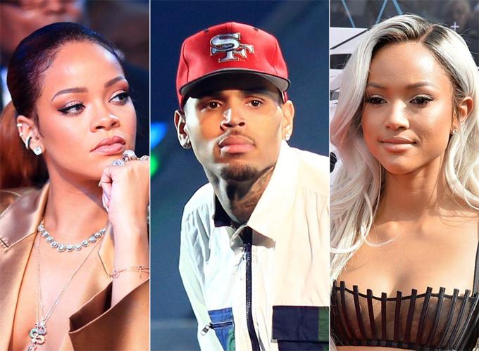 Chris Brown có hai mối tình sâu sắc nhất với Rihanna (trái) và Karrueche Tran.