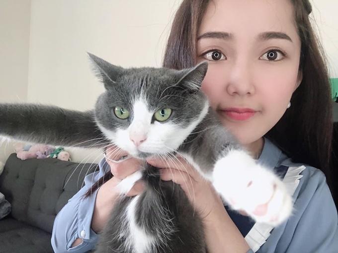 Chú mèo Daisy bầu bạn cùng Anh Đào trong thời gian cách ly.