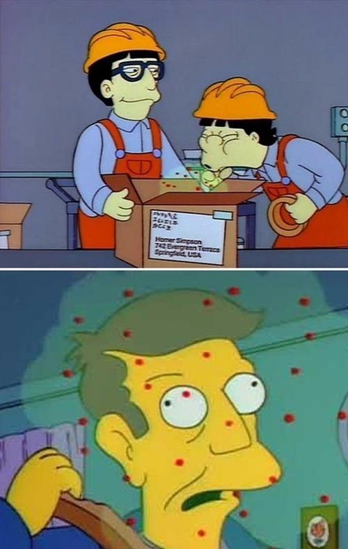 Phim hoạt hình dài kỳ Gia đình Simpson (The Simpsons) từng nói tới một dịch bệnh xuất phát từ châu Á. Các công nhân đóng hoa quả ở Nhật Bản ho liên tục và truyền virus tới nước Mỹ.