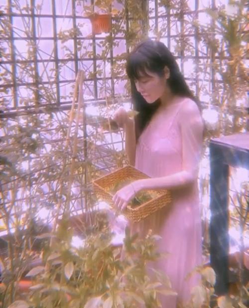 Khi thu hoạch rau củ trong khu vườn nhỏ xíu trong nhà, Elly Trần lại diện các mẫu đầm dáng suông kết hợp ren và vải lụa mềm.