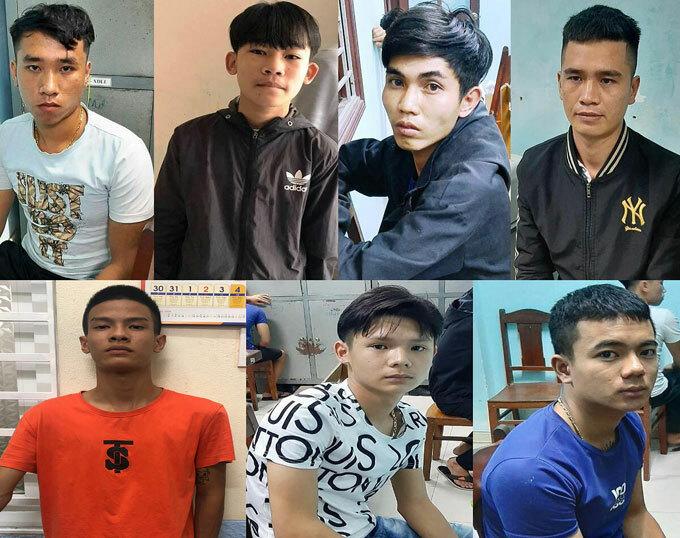 Bảy thanh niên bị công an quận Sơn Trà thực hiện lệnh bắt khẩn cấp. Ảnh: Công an cung cấp.