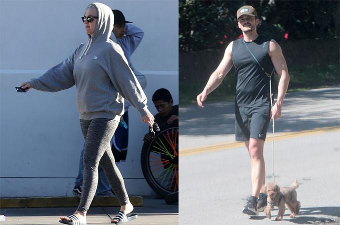 Bà bầu Katy và vị hôn phu Orlando Bloom đi dạo hôm 23/3.