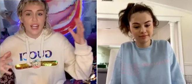 Miley và Selena trong buổi trò chuyện trực tuyến qua Instagram.