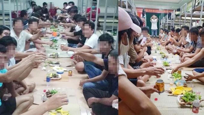 Nhóm người tập trung ăn nhậu mừng gần hết cách ly. Ảnh: HN