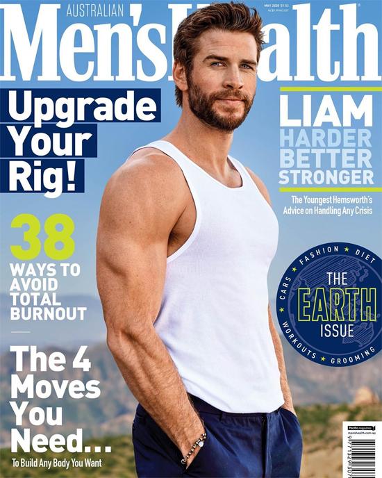 Liam khoe cơ bắp trên tạp chí Men's Health.