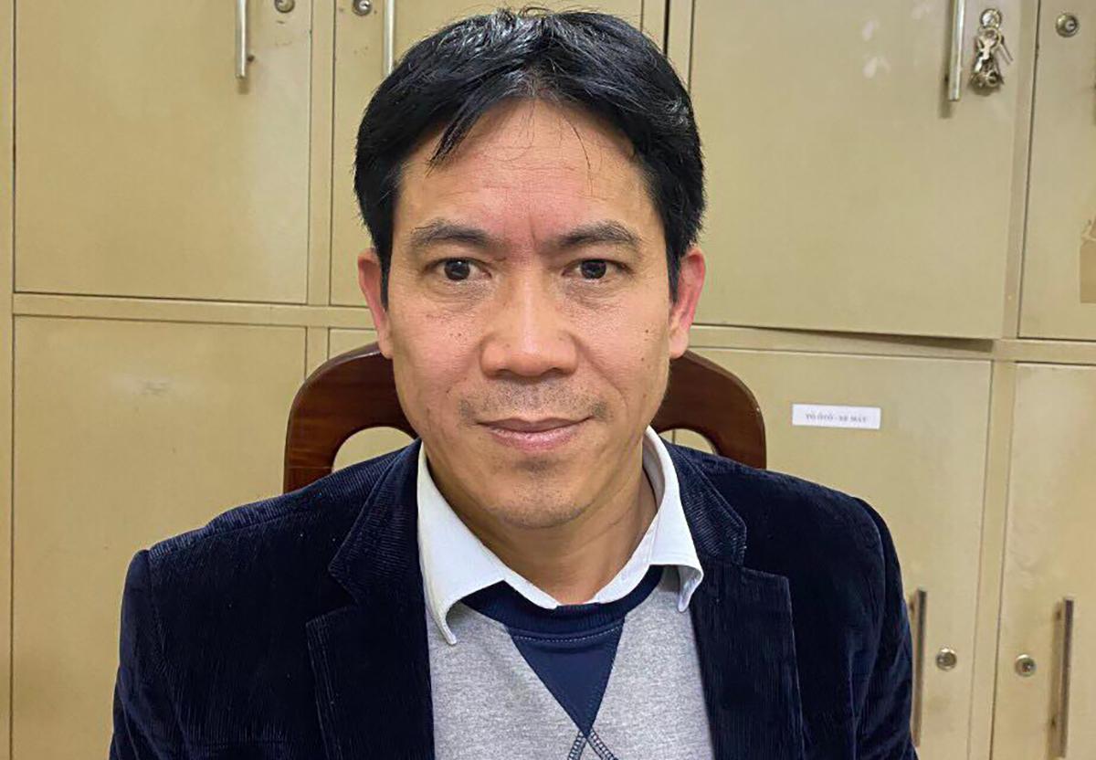 Ông Lê Văn Trọng tại cơ quan điều tra. Ảnh:Thuỳ Linh.