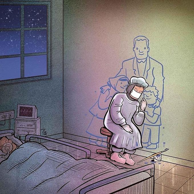 Các y bác sĩ  buộc phải rời xa gia đình để cùng những đồng nghiệp tham gia vào cuộc chiến dai dẳng, cứu chữa những bệnh nhân và bảo vệ những người thân yêu.