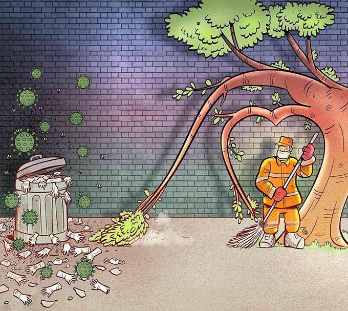 Công nhân vệ sinh môi trường nỗ lực dọn dẹp rác thải y tế trong mùa dịch bệnh.