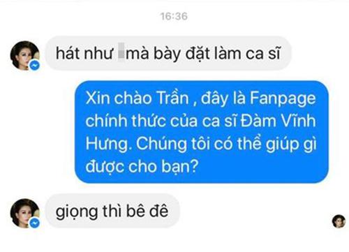Kẻ xấu giả mạo Trang Trần nhắn tin chửi Đàm Vĩnh Hưng.